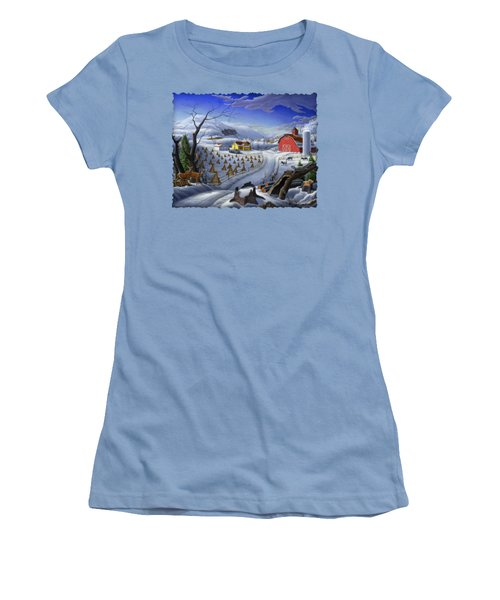 Folk Art Winter Landscape Women's T-Shirt (Athletic Fit)