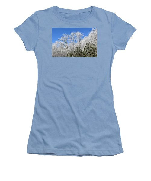 Frosted Trees Blue Sky 1 Women's T-Shirt (Athletic Fit)