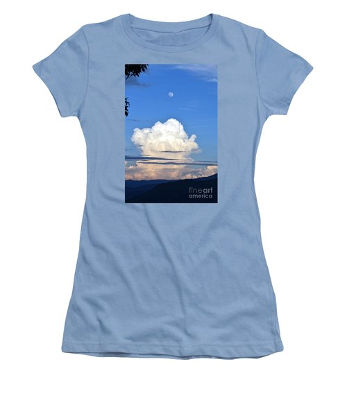 Women's T-Shirt (Junior Cut) featuring the photograph Full Moon Rising Over Blue Ridge by Gary Smith