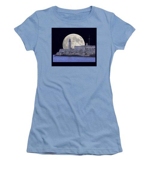 Full Moonrise Over The Castillo De Los Tres Reyes Magos Del Morro, Havana, Cuba Women's T-Shirt (Athletic Fit)