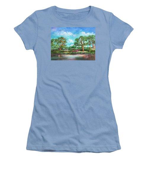 Women's T-Shirt (Junior Cut) featuring the painting  Summer In The Garden Of Eden by Randol Burns