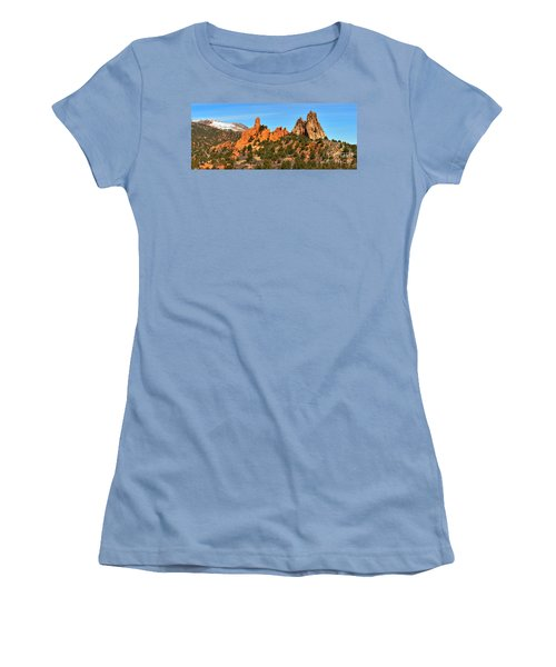 Women's T-Shirt (Junior Cut) featuring the photograph Garden Of The Gods High Point Panorama by Adam Jewell