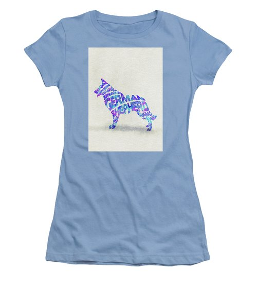 Women's T-Shirt (Athletic Fit) featuring the painting German Shepherd Dog Watercolor Painting / Typographic Art by Ayse and Deniz