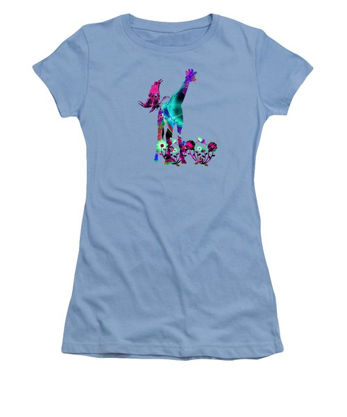 Giraffe And Flowers2 Women's T-Shirt (Junior Cut) by EricaMaxine  Price