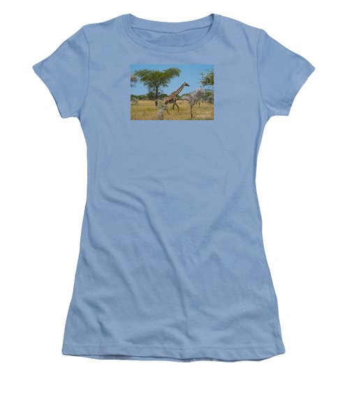 Women's T-Shirt (Junior Cut) featuring the photograph Giraffe On The Move by Pravine Chester