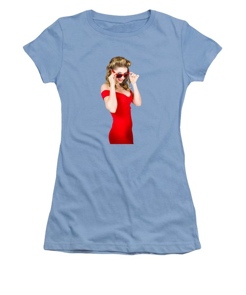 Girl Adjusting Glasses To Flashback A 1950s Look Women's T-Shirt (Athletic Fit)