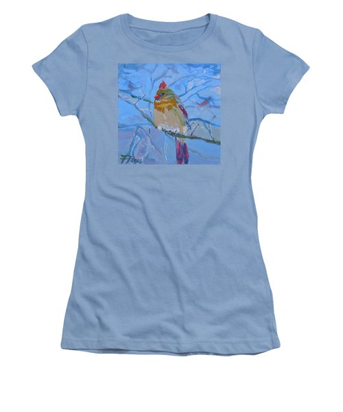 Women's T-Shirt (Junior Cut) featuring the painting Girl Cardinal by Francine Frank