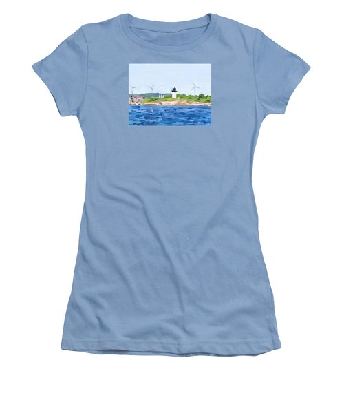 Gloucester Skyline From Harbor With Windmills And Ten Pound Island Lighthouse Women's T-Shirt (Junior Cut) by Melissa Abbott