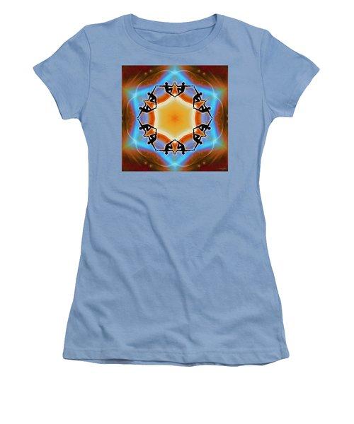 Women's T-Shirt (Athletic Fit) featuring the digital art Glowing Heartfire by Derek Gedney