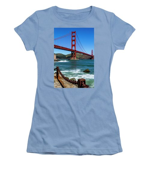 Golden Gate Bridge From Fort Point Women's T-Shirt (Junior Cut) by Teri Virbickis