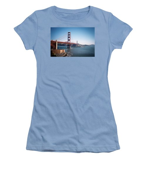 Golden Gate Bridge With Aircraft Carrier Women's T-Shirt (Athletic Fit)