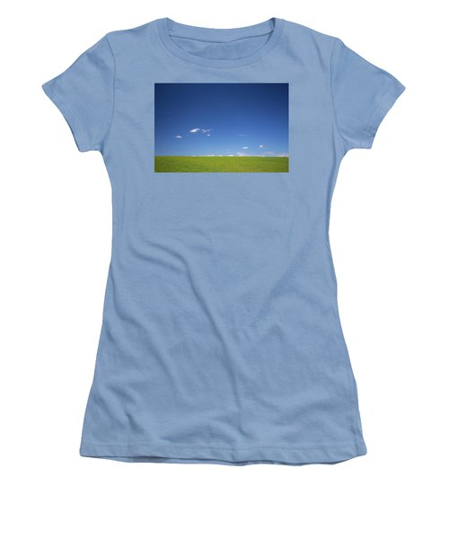 Golden Yellow Of Big Wheat Field,meadows And Closeup Seed With B Women's T-Shirt (Junior Cut) by Jingjits Photography
