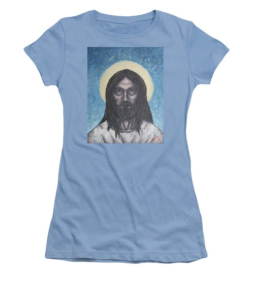 Women's T-Shirt (Junior Cut) featuring the painting Gothic Jesus by Michael  TMAD Finney