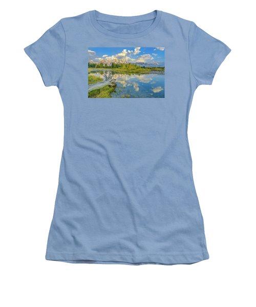 Grand Teton Riverside Morning Reflection Women's T-Shirt (Athletic Fit)