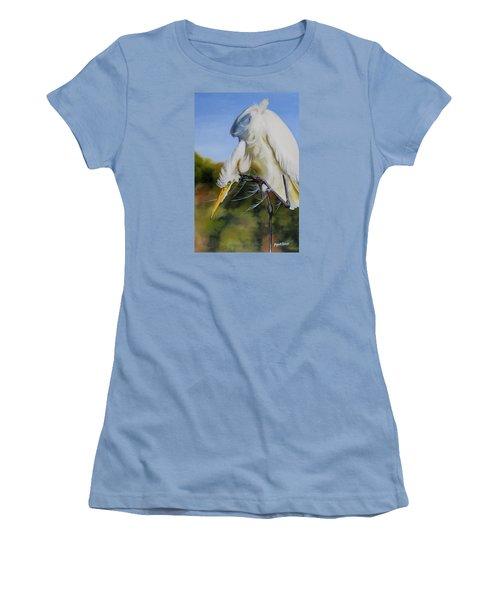 Great Egret In Fall Women's T-Shirt (Junior Cut) by Phyllis Beiser