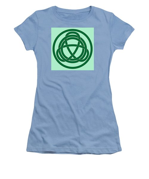 Women's T-Shirt (Junior Cut) featuring the digital art Green Celtic Knot by Jane McIlroy