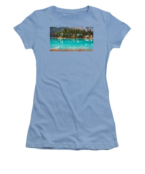 Women's T-Shirt (Junior Cut) featuring the photograph Emerald Lake by Pierre Leclerc Photography