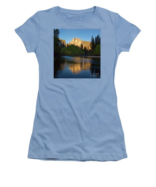 Half Dome And The Merced River With The Moon Women's T-Shirt (Athletic Fit)