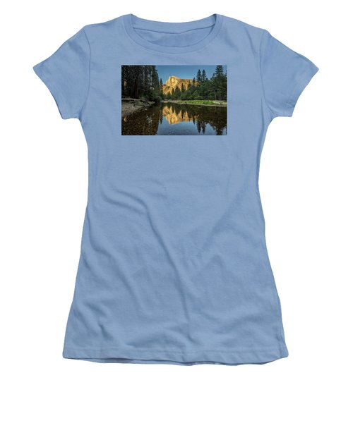 Half Dome From  The Merced Women's T-Shirt (Junior Cut) by Peter Tellone