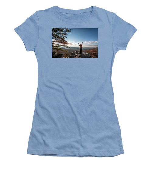 Happy Female Hiker At The Summit Of An Appalachian Mountain Women's T-Shirt (Athletic Fit)