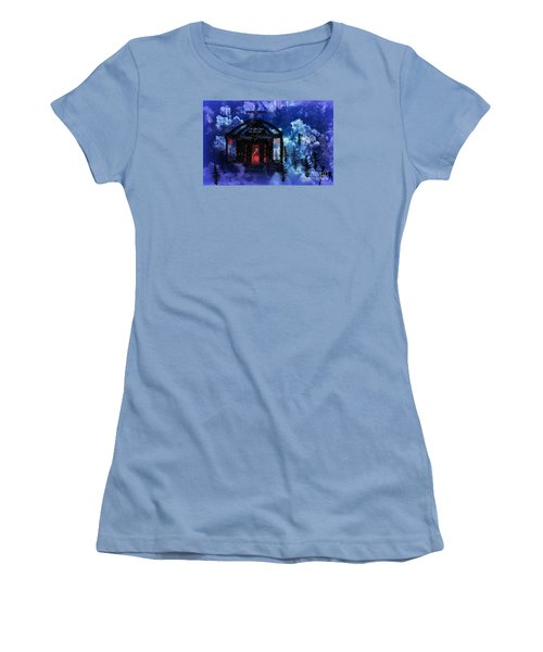 Women's T-Shirt (Junior Cut) featuring the digital art Happy Holiday Little Chapel On The Hill by Sherri  Of Palm Springs
