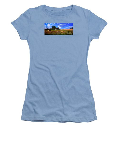 Hay Rolls On The Farm By Christopher Shellhammer Women's T-Shirt (Athletic Fit)