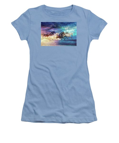 Herd Of Horses In Pastel Women's T-Shirt (Athletic Fit)