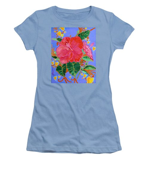 Hibiscus Motif Women's T-Shirt (Athletic Fit)