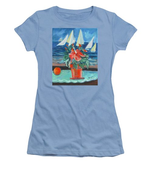 Hibiscus With An Orange And Sails For Breakfast Women's T-Shirt (Athletic Fit)