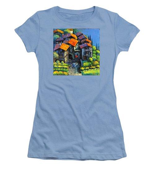 Hilltop Willage Women's T-Shirt (Junior Cut) by Mikhail Zarovny