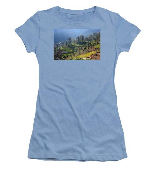 Himalayan Stepped Fields - Nepal Women's T-Shirt (Junior Cut) by Aidan Moran