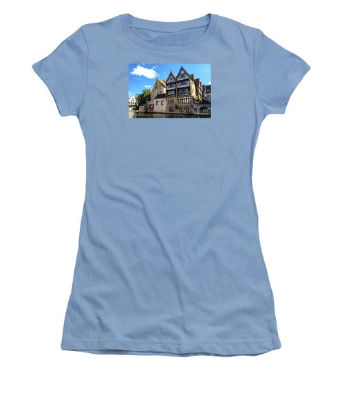 Women's T-Shirt (Junior Cut) featuring the photograph Homes Of Bruges by Pravine Chester
