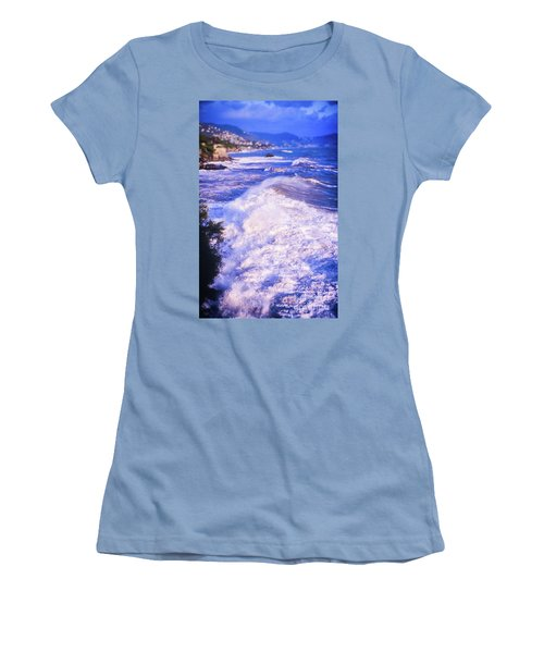 Women's T-Shirt (Athletic Fit) featuring the photograph Huge Wave In Ligurian Sea by Silvia Ganora