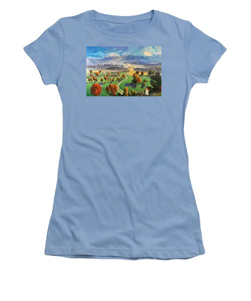 Women's T-Shirt (Junior Cut) featuring the painting I Dreamed America by Art James West