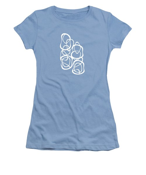 Interlocking - White On Aqua - Pattern Women's T-Shirt (Junior Cut) by Menega Sabidussi