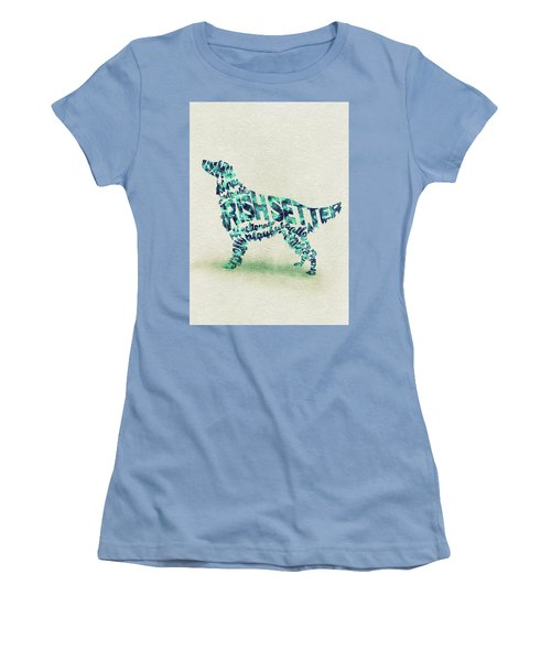 Women's T-Shirt (Athletic Fit) featuring the painting Irish Setter Watercolor Painting / Typographic Art by Ayse and Deniz
