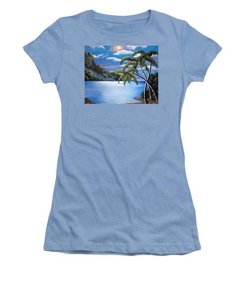 Island Night Glow Women's T-Shirt (Junior Cut) by Luis F Rodriguez
