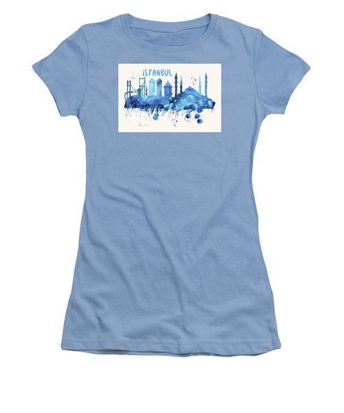 Istanbul Skyline Watercolor Poster - Cityscape Painting Artwork Women's T-Shirt (Athletic Fit)