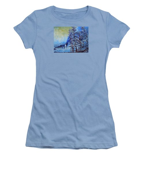 Women's T-Shirt (Junior Cut) featuring the painting It's Cold Out by Dan Whittemore