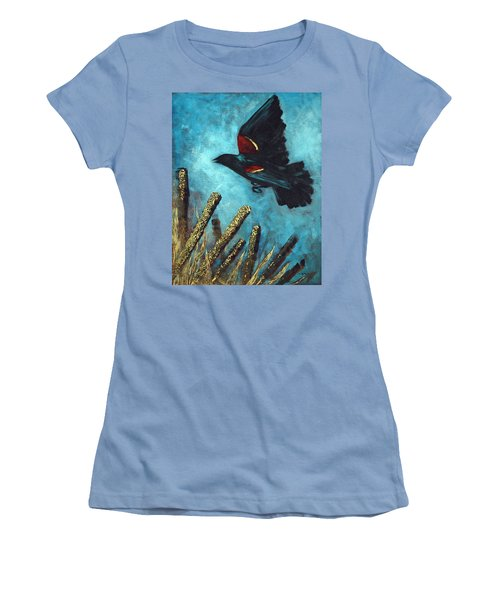 Jewel Among The Cattails Women's T-Shirt (Junior Cut) by Suzanne McKee
