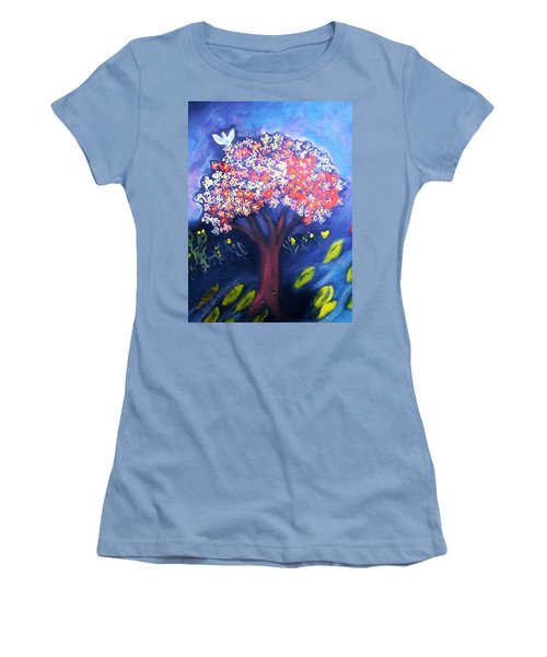 Women's T-Shirt (Junior Cut) featuring the painting Joy by Winsome Gunning