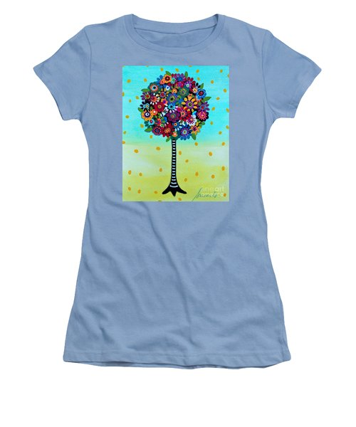 Women's T-Shirt (Athletic Fit) featuring the painting Jubilant Tree Of Life by Pristine Cartera Turkus