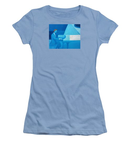 Justin Levitt Steinway Piano Blue Women's T-Shirt (Athletic Fit)