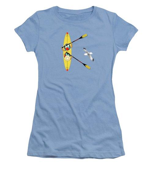K Is For Kayak And Kittiwake Women's T-Shirt (Junior Cut) by Valerie Drake Lesiak
