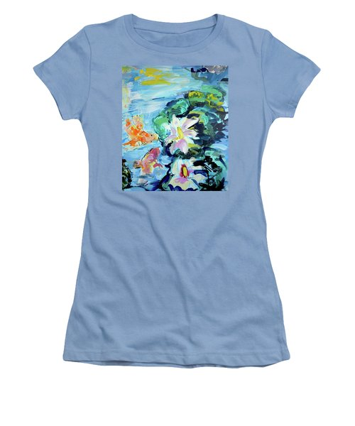 Koi Fish And Water Lilies Women's T-Shirt (Athletic Fit)