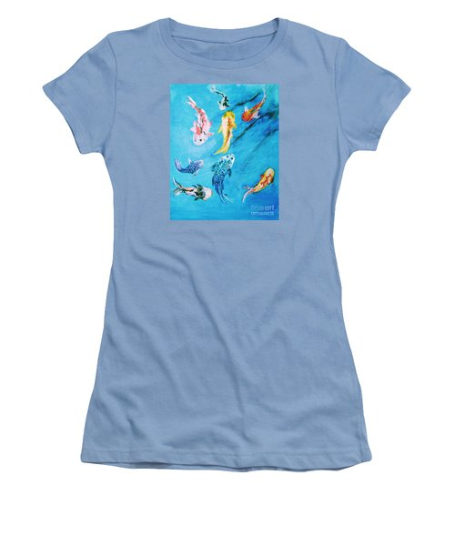 Women's T-Shirt (Athletic Fit) featuring the painting Swimming Koi Fish From The Water Series by Donna Dixon