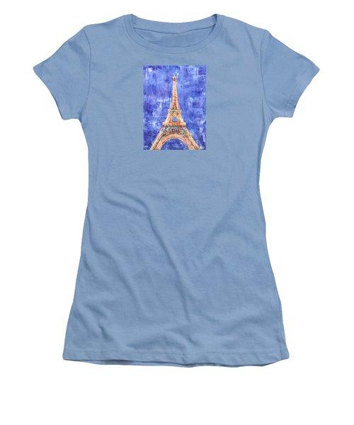Women's T-Shirt (Junior Cut) featuring the painting La Tour Eiffel by Elizabeth Lock