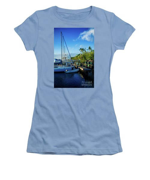 Women's T-Shirt (Junior Cut) featuring the photograph Lahaina Marina Blue Twilight by Sharon Mau