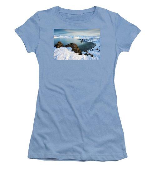 Lake Kleifarvatn Iceland In Winter Women's T-Shirt (Junior Cut) by Matthias Hauser