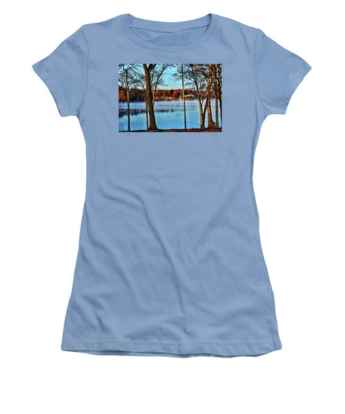 Women's T-Shirt (Junior Cut) featuring the photograph Lake Vapors by Rick Friedle